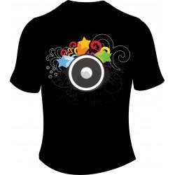 Camiseta negra impresa a todo color
